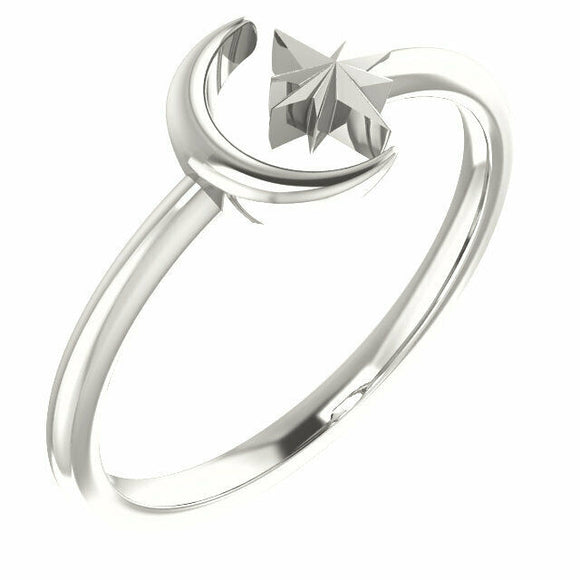 Crescent Moon and Star Silver Ring