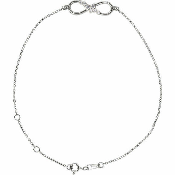Diamond Infinity Chain Bracelet Sterling Silver New in Box
