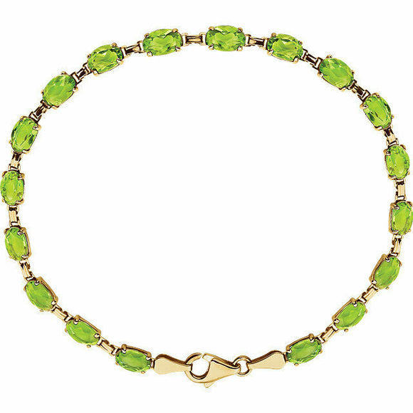 Genuine Peridot Line Bracelet 14K Yellow Gold Tennis Bracelet