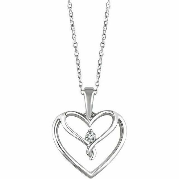 Diamond Silver Heart Pendant Necklace NEW 18