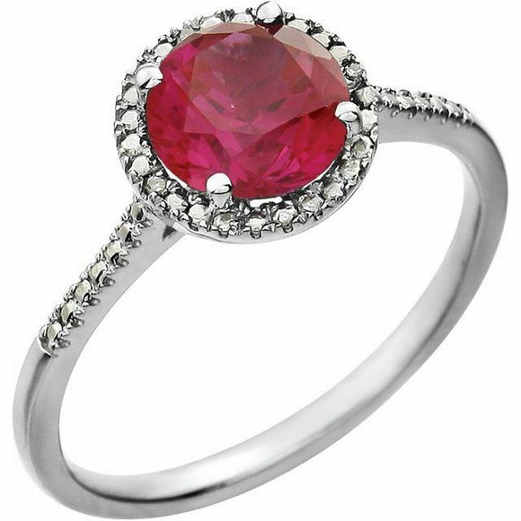 Ruby Diamond Halo Ring Sterling Silver