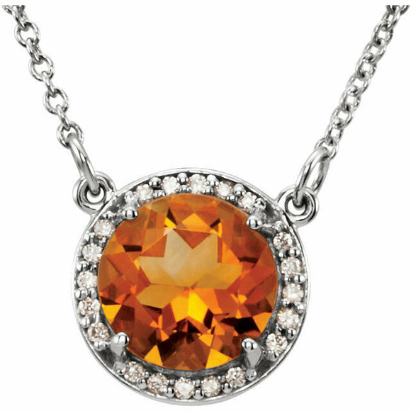 Citrine Diamond Halo Pendant White Gold November Birthstone New In Box