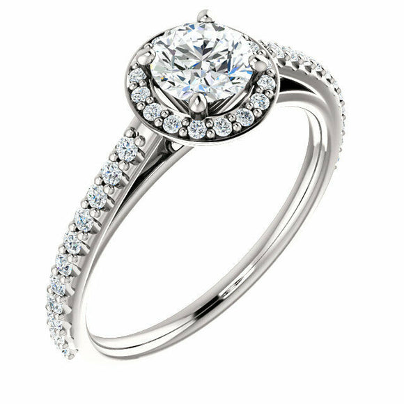 Classic Diamond Halo Engagement Ring