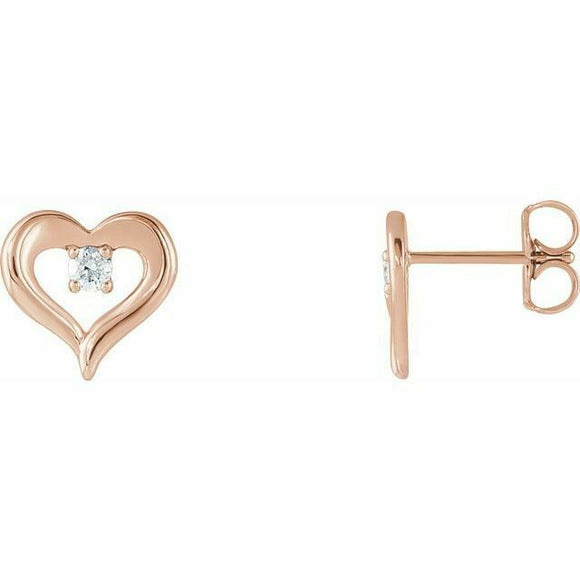 Single Diamond Heart Stud Earrings Rose Gold NEW 14K Solid USA Made