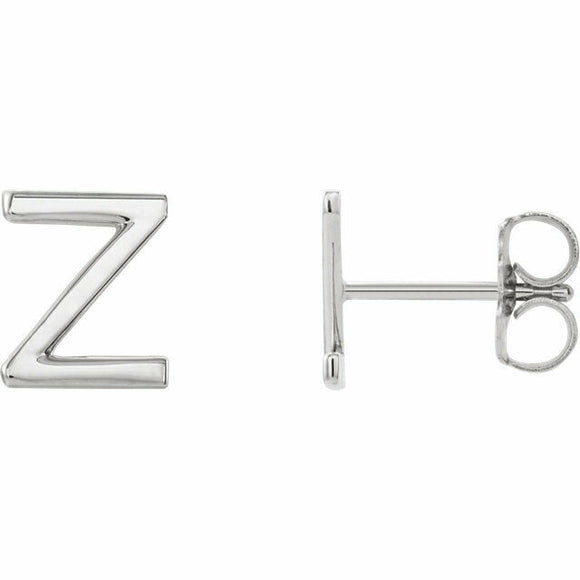 Z Initial Stud Earring White Gold Solid