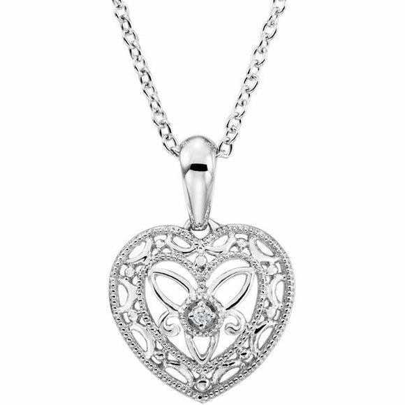 Vintage Inspired Diamond Heart Filigree Necklace Sterling Silver 18
