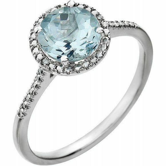 Genuine Aquamarine Diamond Halo Ring Sterling Silver NEW Solid Size 7 Sizeable