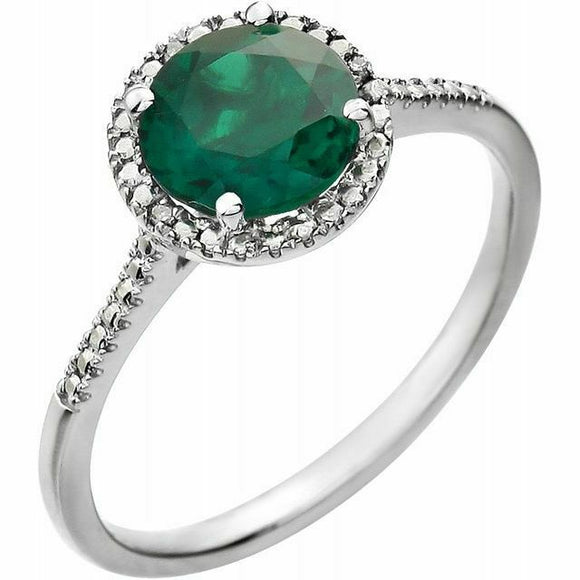 Emerald Diamond Halo Ring Sterling Silver