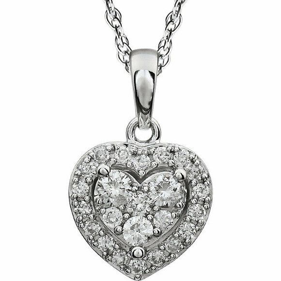 Diamond Heart Halo Pendant Necklace White Gold New In Box