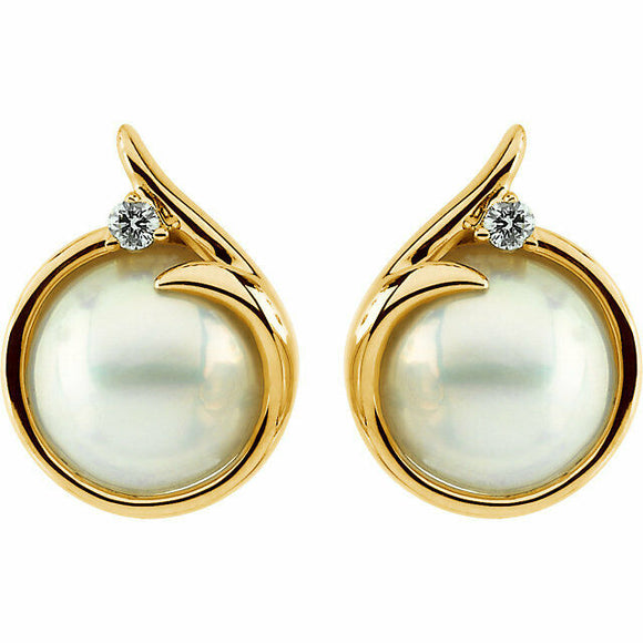NEW Mabe Pearl and Diamond Yellow Gold Stud Earring 14K Cultured USA Made