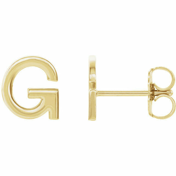 G Initial Stud Earring Yellow Gold 14K Solid