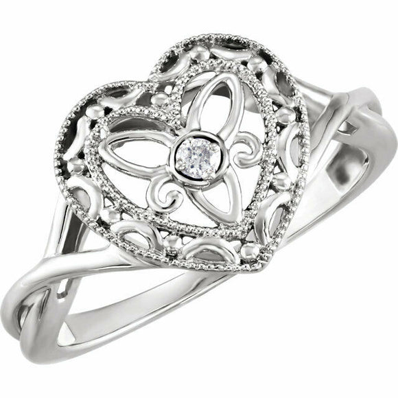 Vintage Inspired Heart Filigree Ring Sterling Silver Size 7 Diamond Heart Ring