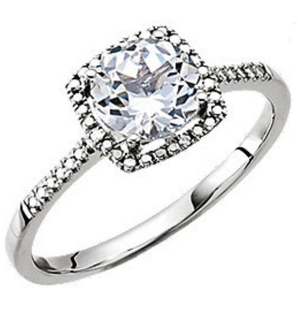Halo Diamond White Sapphire Ring 7 Sizeable