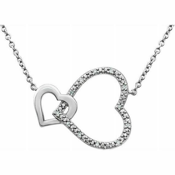 Diamond Interlocking Heart Pendant Necklace Sterling Silver NEW USA Made 18