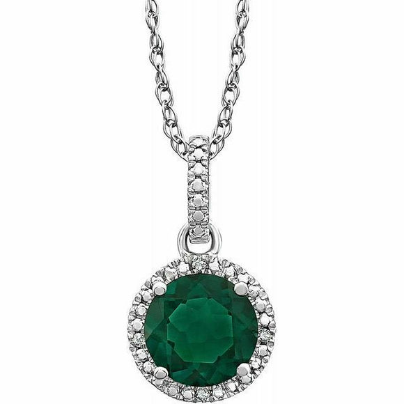 Emerald Diamond Halo Pendant Necklace Sterling Silver NEW Round 18 Inch