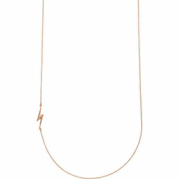 Rose Gold Lightening Bolt Necklace New Modern Chic Horizontal Pendant 14K Solid