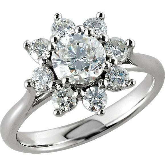 Halo Diamond Engagement Ring 1 3/4 Carat