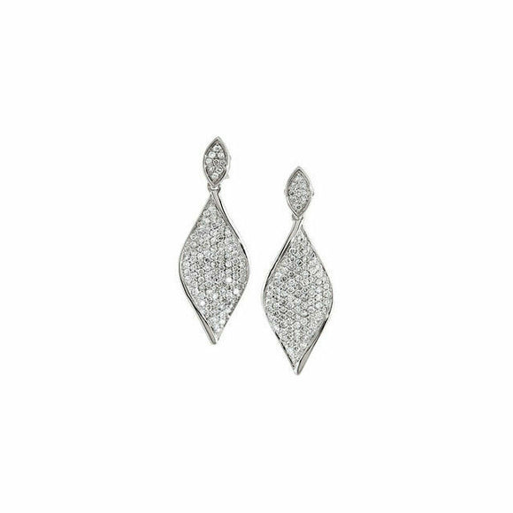 Sculptural Pave Diamond Dangle Earrings White Gold 14K New in Box