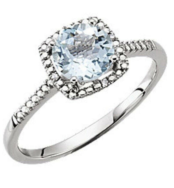 Aquamarine Diamond Halo Ring