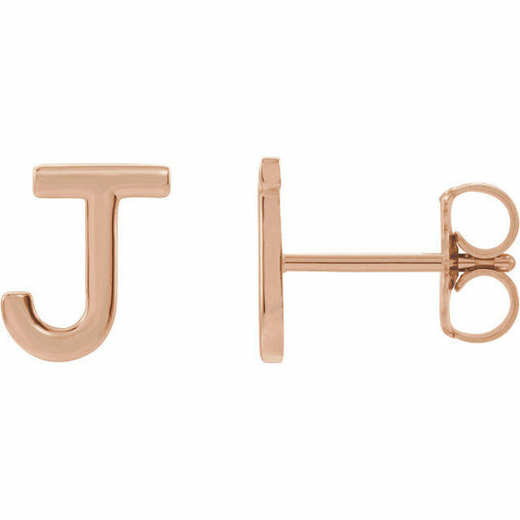 J Initial Stud Earring Rose Gold Solid