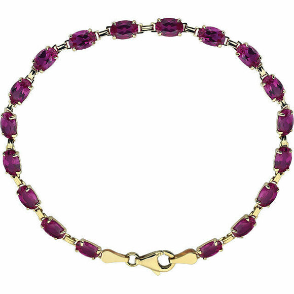 Ruby Line Bracelet Oval 14K Yellow Gold Tennis Bracelet