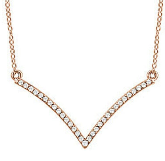 Rose Gold Diamond V Necklace 14K