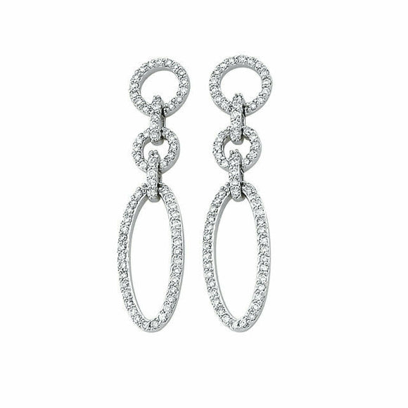 Diamond Oval Link Style Earrings White Gold 14K Genuine New In Box
