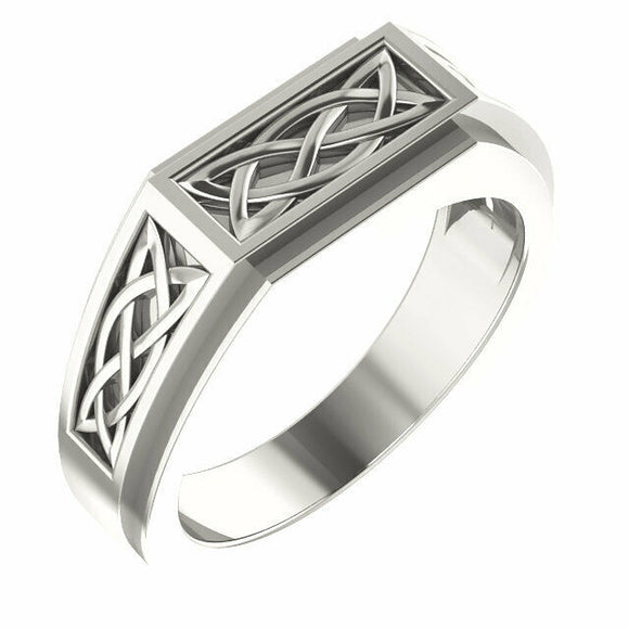 Sterling Silver Men's Celtic Inspired Ring Size 11 Sizeable NEW solid .925