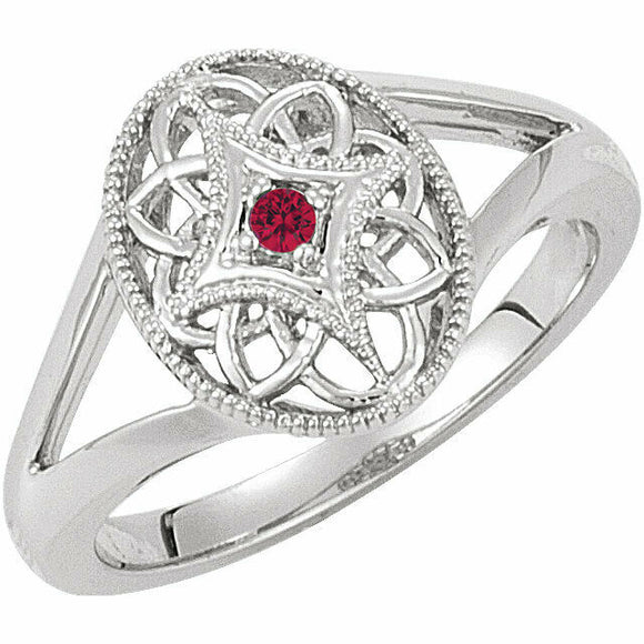 Ruby Filigree Oval Ring Size 7 Sizeable Sterling Silver NEW Solid