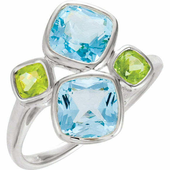 Sterling Silver Sky Blue Topaz and Peridot Ring New In Box Size 7 Sizeable
