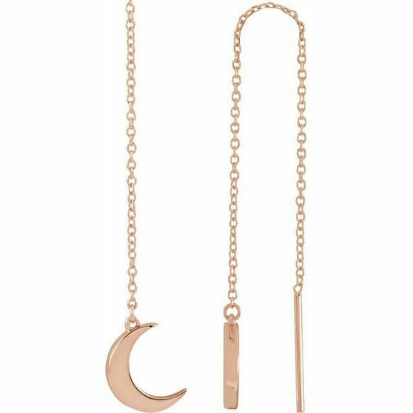 Rose Gold Crescent Moon Chain Earrings New 14K Solid Made in USA