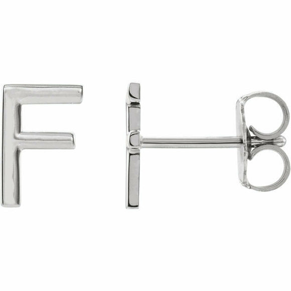 F Initial Stud Earring White Gold 14K Solid