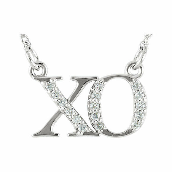 XO Diamond Necklace White Gold Hugs and Kisses 16.5