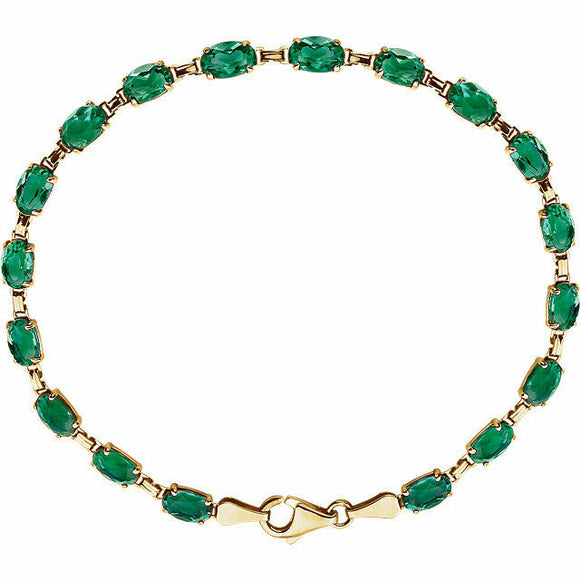 Emerald Line Bracelet 14K Yellow Gold Tennis Bracelet