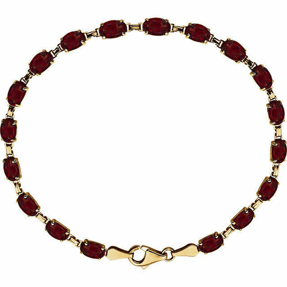 Genuine Mozambique Garnet Line Bracelet 14K Yellow Gold