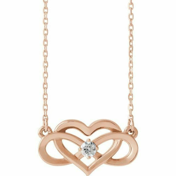 Diamond Infinity Heart Pendant Necklace Rose Gold NEW 14K Solid 18