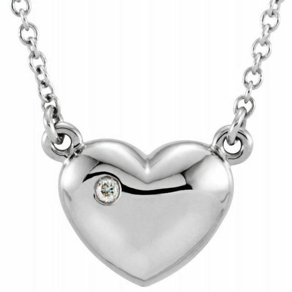 White Gold Diamond Heart Pendant Necklace 14K