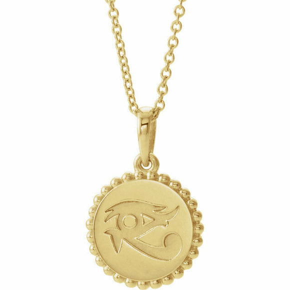 Eye of Horus Yellow Gold Pendant Necklace New Egyptian Wealth Health Power 14K