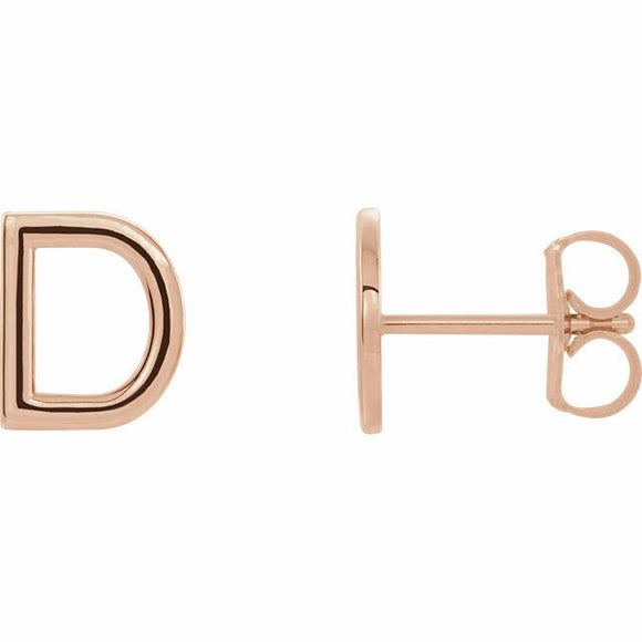 D Initial Stud Earring Rose Gold 14K Solid