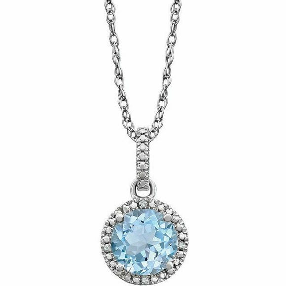 Blue Topaz Diamond Halo Pendant Necklace Sterling Silver NEW Round 18 Inch