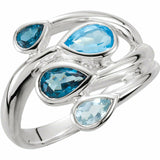 Blue Topaz Sterling Silver Tonal Bypass Ring New Size 7 Sizeable
