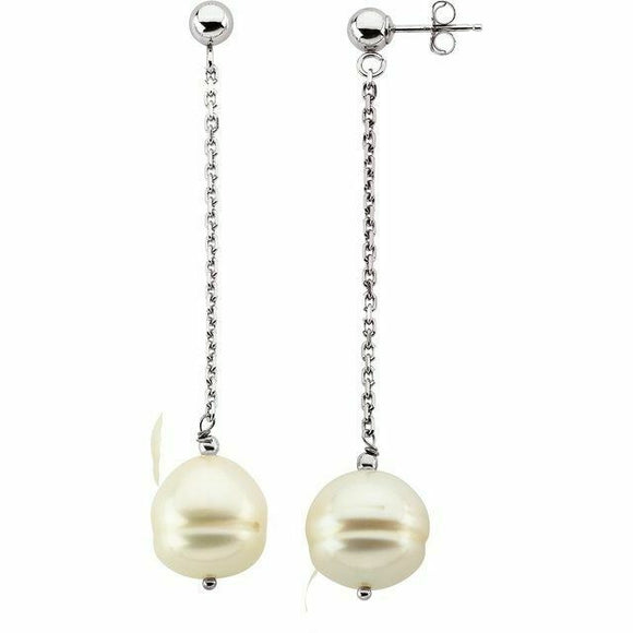 White Pearl Sterling Silver Chain Drop Dangle Earrings Post Top New Made in USA