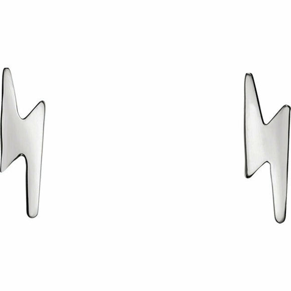 Sterling Silver Lightening Bolt Stud Earrings