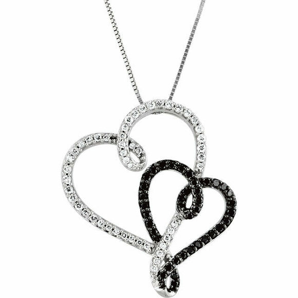 Black Diamond and White Diamond Double Heart Pendant White Gold 14K