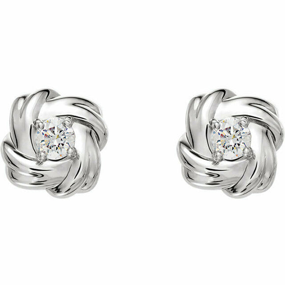 Diamond White Gold Knot Stud Earrings Genuine New Solid Round Full Cut
