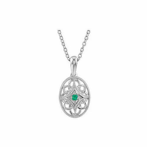 Emerald Filigree Pendant Necklace Sterling Silver May Birthstone New In Box
