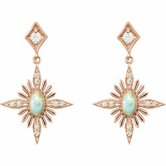 Australian Opal and Diamond Rose Gold Post Dangle Earrings Celestial Art Deco