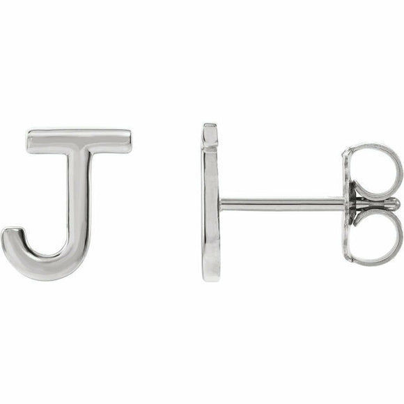 J Initial Stud Earring White Gold Solid