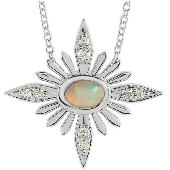 White Gold Ethiopian Opal & Diamond Necklace 14K .08 CTW