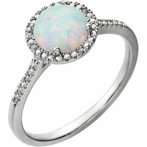 Opal Diamond Halo Ring Sterling Silver NEW Solid Size 7 Sizeable